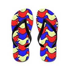 Red, Yellow and Blue Birds Flip Flops