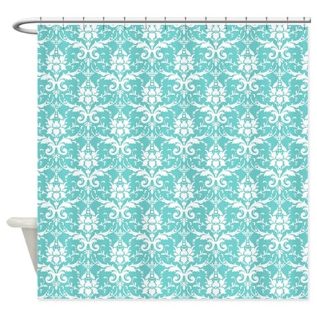 Teal Damask Shower Curtain By Decorativedecor