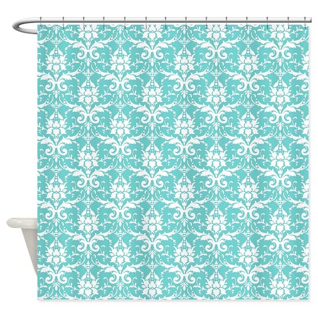 Teal Damask Shower Curtain By Decorativedecor