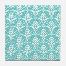 Teal Damask Tile Coaster