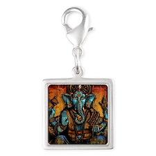 Blue Ganesha Silver Square Charm