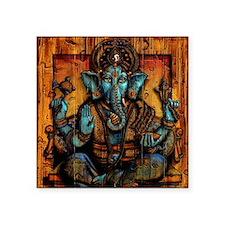 "Blue Ganesha Square Sticker 3"" x 3"""