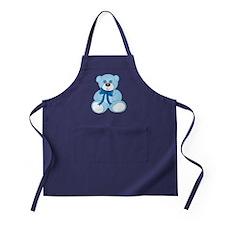 Blue Teddy Bear with Button Eyes and Apron (dark)