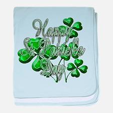 Happy St Patricks Day Shamrocks baby blanket