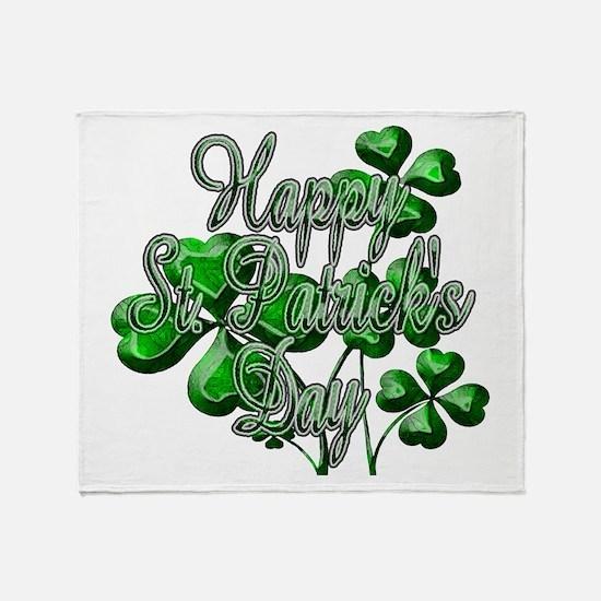 Happy St Patricks Day Shamrocks Throw Blanket