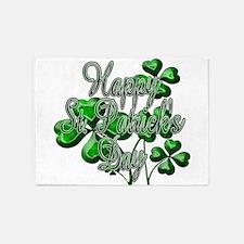 Happy St Patricks Day Shamrocks 5'x7'Area Rug