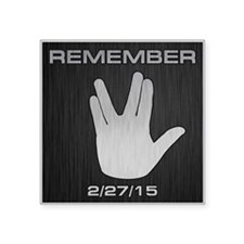 "SPOCK REMEMBER Square Sticker 3"" x 3"""