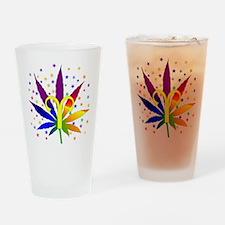 Rainbow Marijuana Aries Drinking Glass