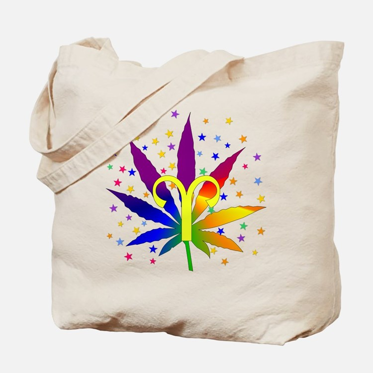 Rainbow Marijuana Aries Tote Bag
