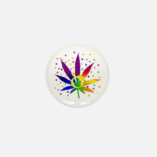 Rainbow Marijuana Taurus Mini Button (10 pack)