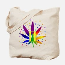 Rainbow Marijuana Gemini Tote Bag