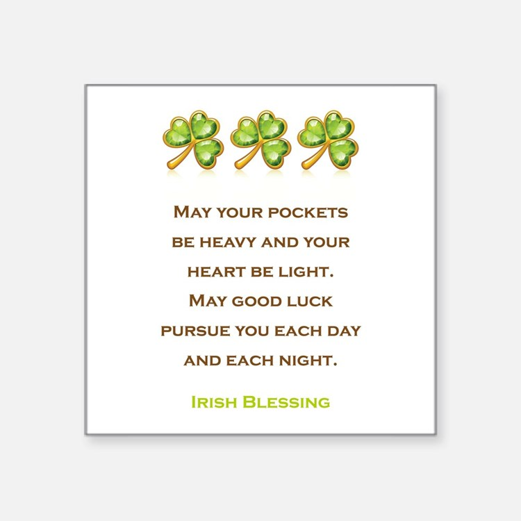 "IRISH BLESSING Square Sticker 3"" x 3"""