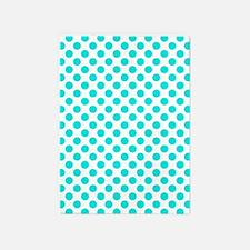 Teal Polka Dots 5'x7'Area Rug