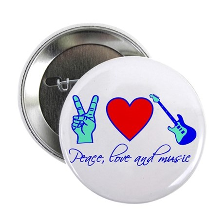 """Peace, Love and Music 2.25"""" Button"""