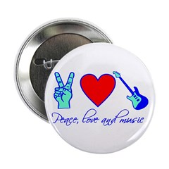 """Peace, Love and Music 2.25"""" Button (10 pack)"""