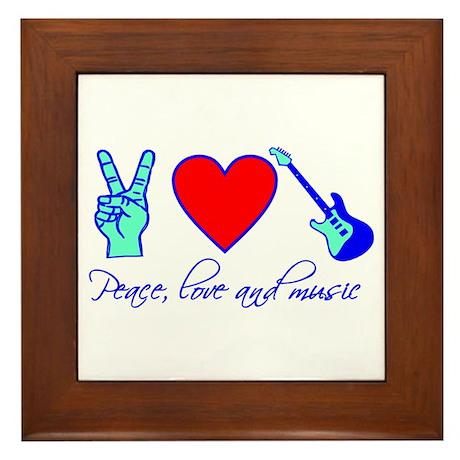 Peace, Love and Music Framed Tile