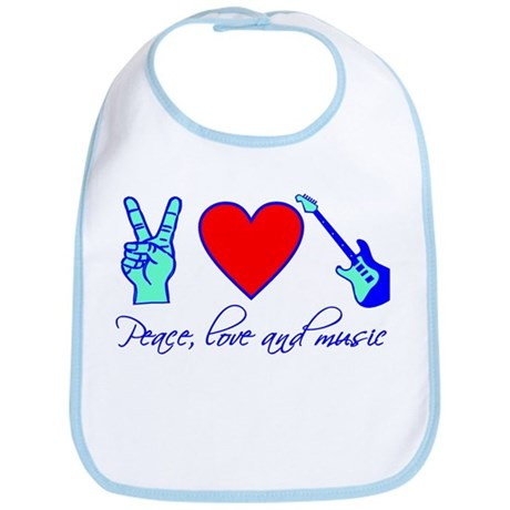 Peace, Love and Music Bib