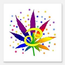 "Rainbow Marijuana Cancer Square Car Magnet 3"" x 3"""