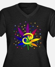 Rainbow Mari Women's Plus Size V-Neck Dark T-Shirt