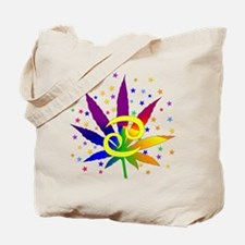Rainbow Marijuana Cancer Tote Bag