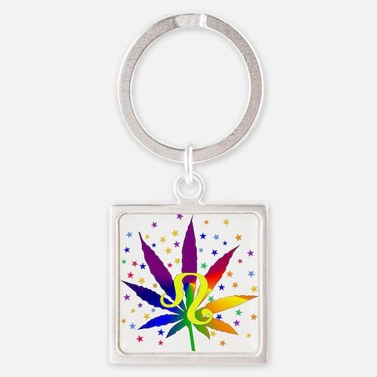 Rainbow Marijuana Leo Square Keychain