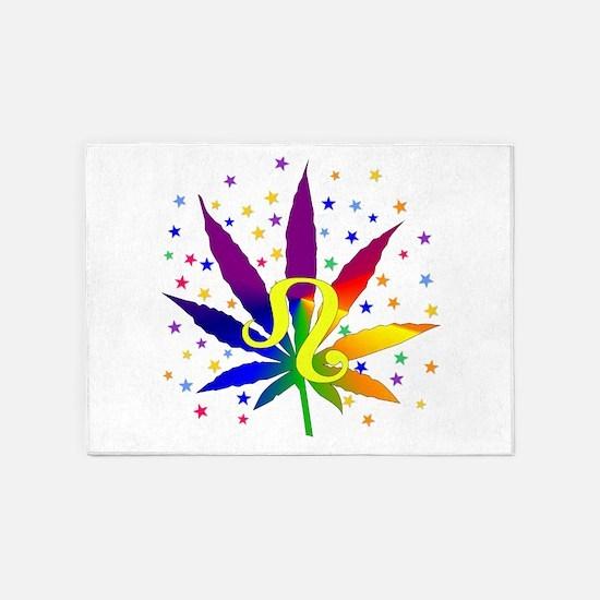 Rainbow Marijuana Leo 5'x7'Area Rug