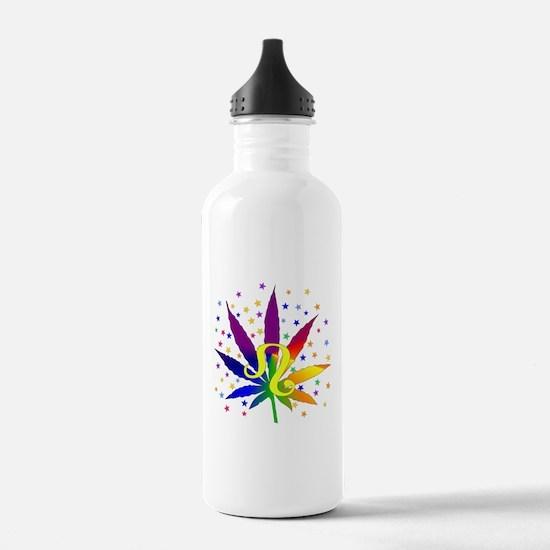 Rainbow Marijuana Leo Sports Water Bottle