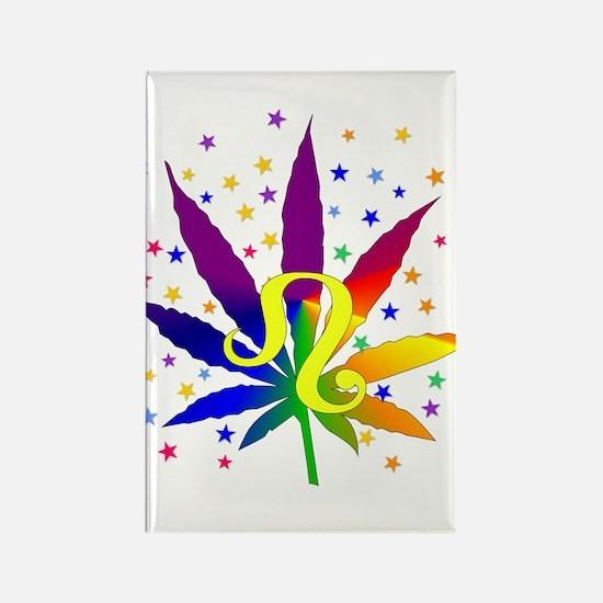 Rainbow Marijuana Leo Rectangle Magnet