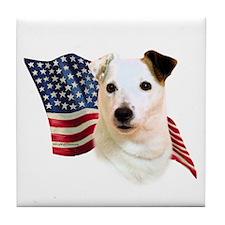 Jack Russell Terrier Flag Tile Coaster