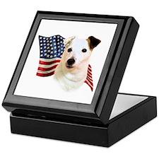 Jack Russell Terrier Flag Keepsake Box