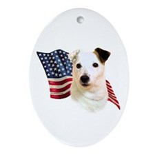 Jack Russell Terrier Flag Oval Ornament