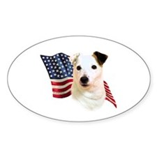 Jack Russell Terrier Flag Oval Bumper Stickers