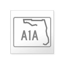 "Route A1A, Florida Square Sticker 3"" x 3"""