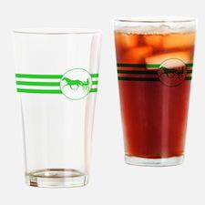 Harness Racing Stripes (Green) Drinking Glass