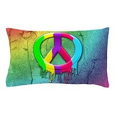 Peace Symbol Dripping Rainbow Paint Pillow Case