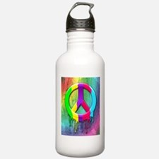 Peace Symbol Dripping Rainbow Paint Water Bottle