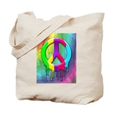 Peace Symbol Dripping Rainbow Paint Tote Bag