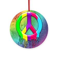 Peace Symbol Dripping Rainbow Paint Ornament (Roun