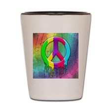 Peace Symbol Dripping Rainbow Paint Shot Glass