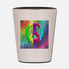 Peace Symbol Dripping Rainbow Paint Shot Glass