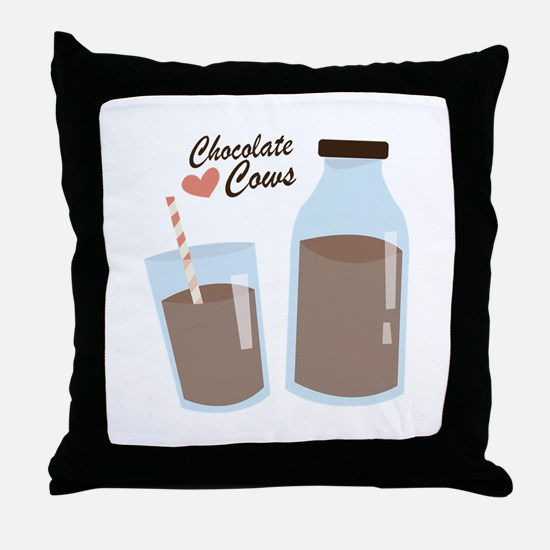 Chocolate Cows Throw Pillow