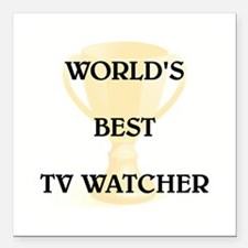"TV WATCHER Square Car Magnet 3"" x 3"""