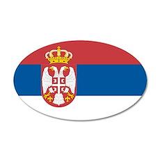 Serbian flag 20x12 Oval Wall Decal