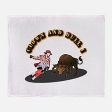Clown and Bull 1-With-Text Throw Blanket