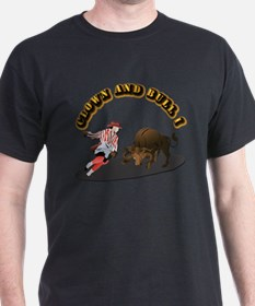 Clown and Bull 1-With-Text T-Shirt