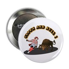 """Clown and Bull 1-With-Text 2.25"""" Button"""