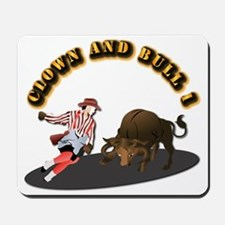 Clown and Bull 1-With-Text Mousepad