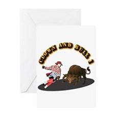 Clown and Bull 1-With-Text Greeting Card