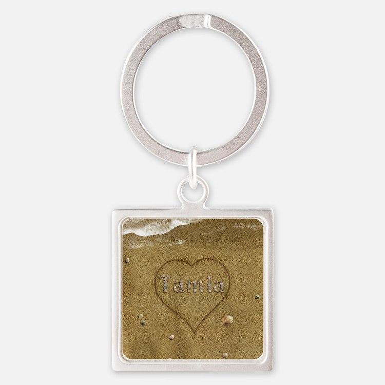 Tamia Beach Love Square Keychain