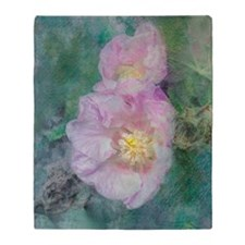 Oil Painting of a Pink Flower Throw Blanket